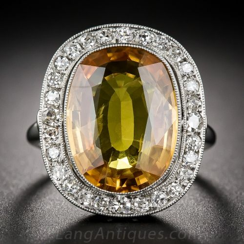 Golden Sapphire and Diamond Halo Ring