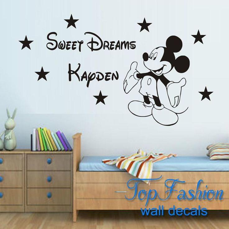 Free Shipping 57x75cm custom made SWEET DREAMS MICKEY MOUSE WALL ART STICKER DECAL QUOTE KIT BOYS BEDROOM NURSERY