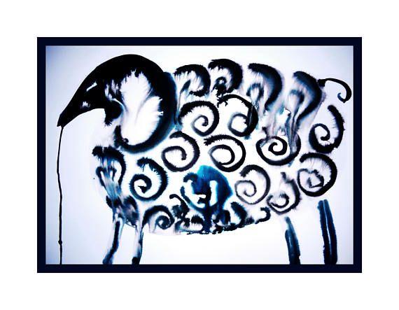Original ink painting SHEEP home decoration modern art black