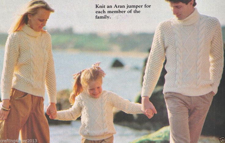 HIS & HERS & CHILDS ARAN CABLE ROLLED NECK WINTER JUMPERS 12PLY KNITTING PATTERN