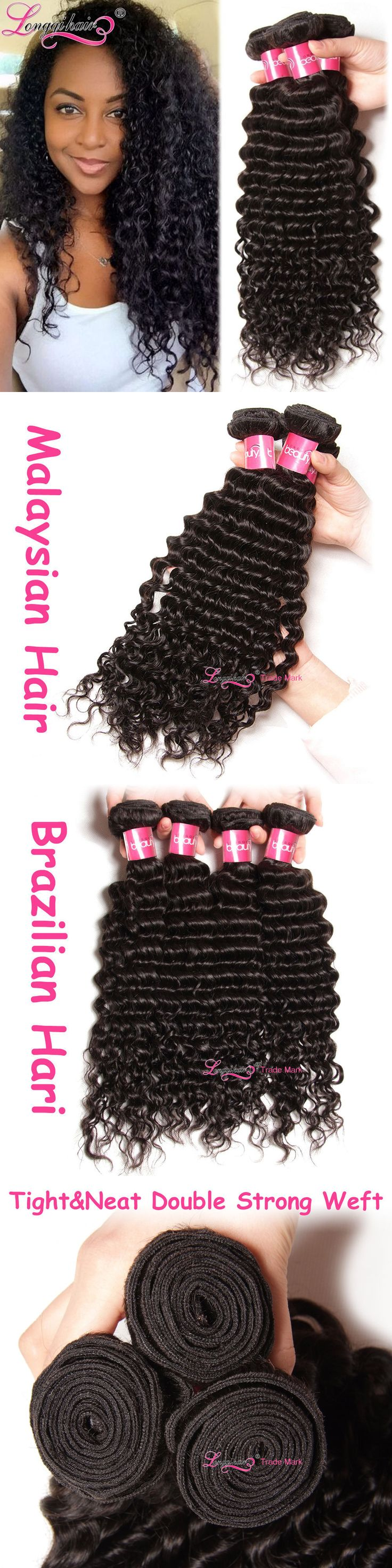 Hair Extensions: Malaysian Deep Wave Hair Weaves 3Bundles Unprocessed Curly Human Hair Extensions BUY IT NOW ONLY: $101.31