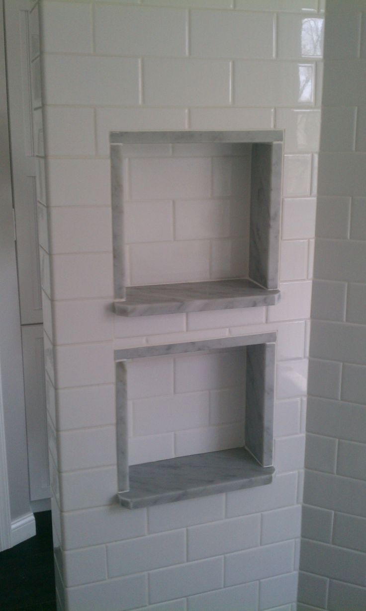 Gloss subway tile shower insert with marble sill shower