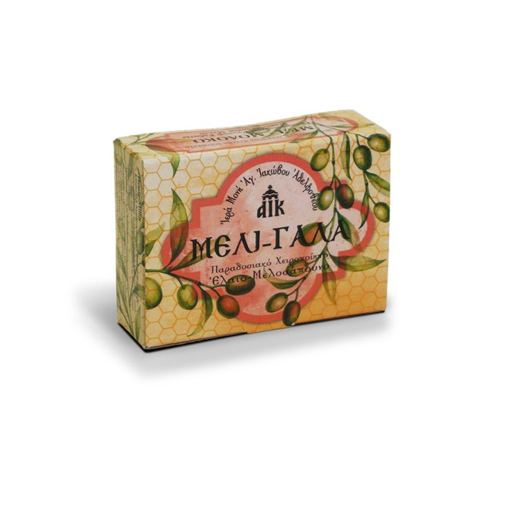 Olive Oil and Honey Soap with Milk from the workshop of the Holy Monastery of Saint James the Just-Greece. It hydrates, nourishes and pampers the skin. Suitable for face, body and hair. / Ελαιομελοσάπουνο με μέλι και γάλα από το εργαστήριο της Ιεράς Μονής Αγίου Ιακώβου. Με αντιμικροβιακή δράση, κατάλληλο για τον καθαρισμός του δέρματος και την ενυδάτωση της επιδερμίδας. Για τα μαλλιά, το πρόσωπο και το σώμα.