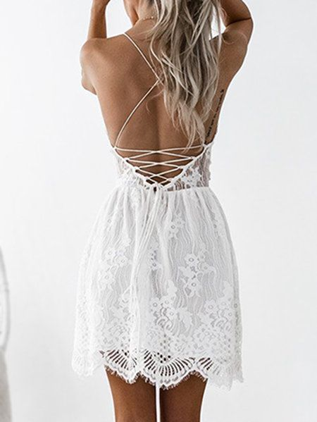 8f1124d1bc2 White Lowcout V-neck Criss-cross Back Delicate Sheer Lace Slip Mini ...