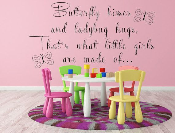 Vinyl Wall Decal, That's What Little Girls Are Made Of, Butterfly Kisses, Handmade Signs, Sayings, Decals, Wall Quotes, Cute Quote, Custom