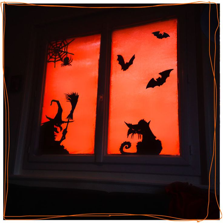 DIY vitrail halloween déco fenêtres