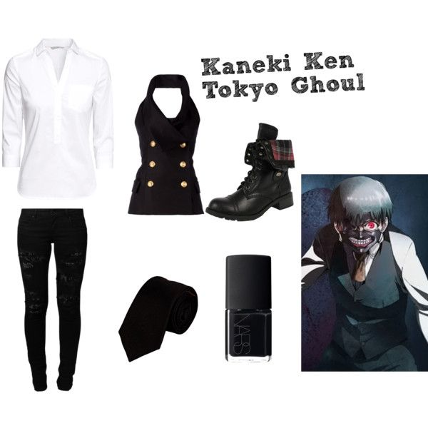 Kaneki Ken (Tokyo Ghoul) by lexivita on Polyvore featuring Balmain, Alexander Olch, H&M, Vero Moda and NARS Cosmetics