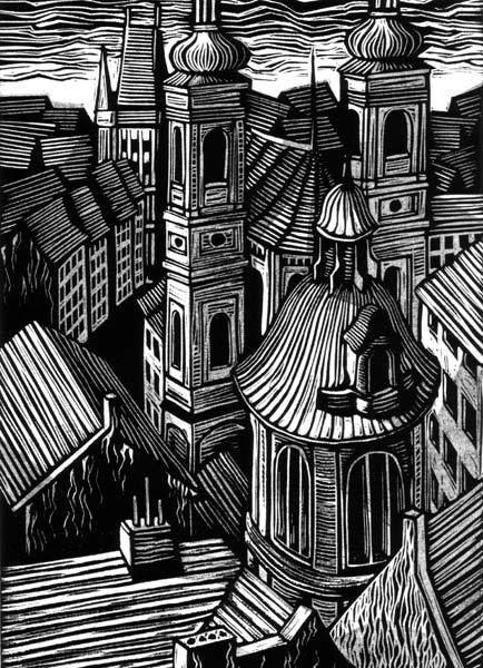 Great line work-city/town/village drawing-Walpurgisnacht by Vladimir Zimakov, via Behance