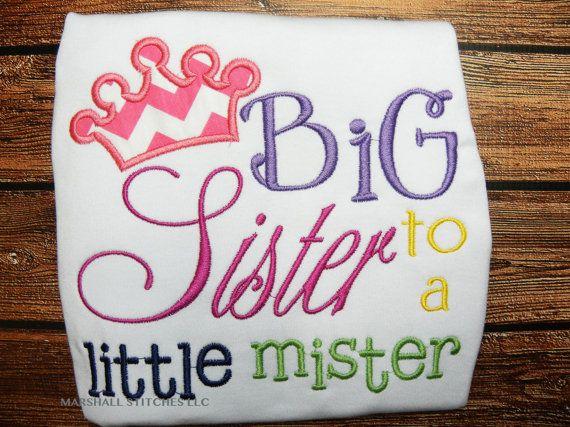 Big Sister to a little mister Shirt/ Big Sister Shirt/ New Sibling Shirt
