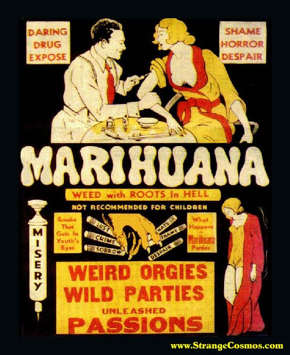Marihuana is evil, but other adds from the time promote giving your kids opium to help them sleep?  Twisted!