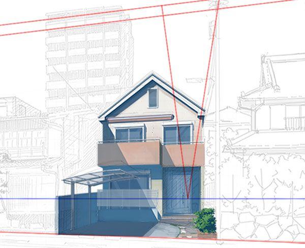 住宅街の町並みの描き方 建築パース 街 イラスト アニメ 背景
