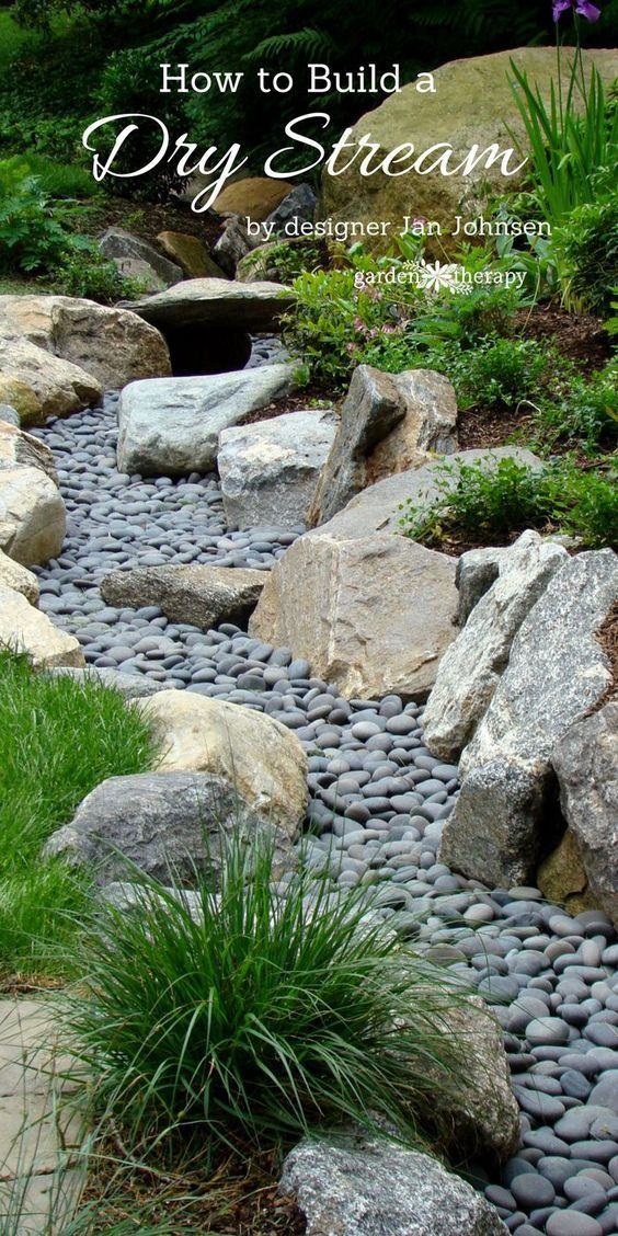 a beautiful way to catch runoff how to build a dry stream - Rock Patio Designs
