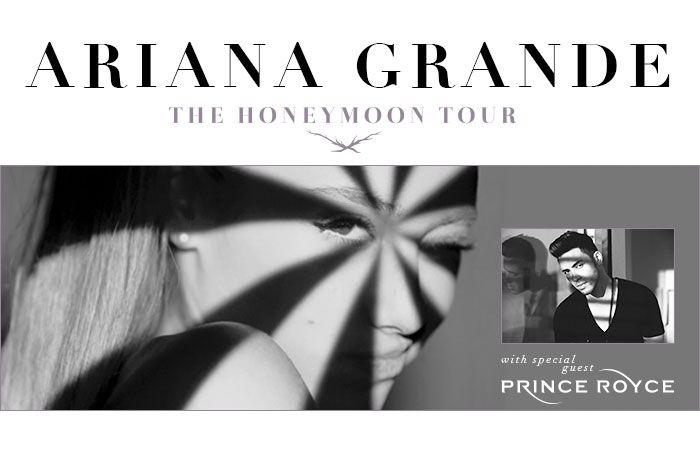 Ariana Grande fans, rejoice. The Honeymoon Tour is not over yet. Ariana has added tour dates, through Oct 25 includes Prince Royce in show lineup. Get your tickets http://www.ticketnetwork.com/ticket/ariana-grande-events.aspx?kbid=7204
