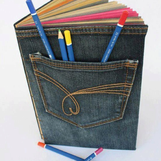 Reuse jeans for handy book cover