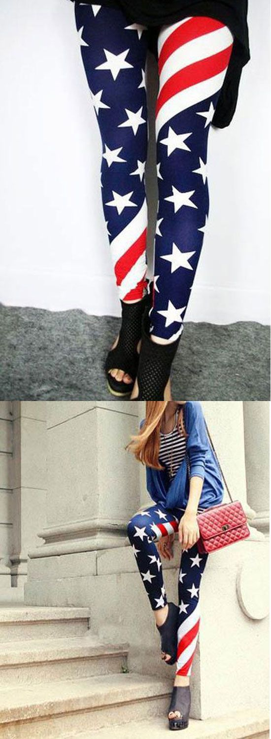 Sexy Stretch US American Flag Tights Leggings for big sale! #US #flag #sexy #leggings