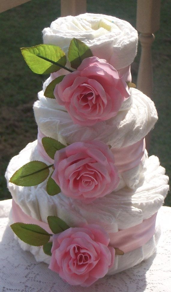 Blue Roses Diaper Cake for Boys Baby Showers by FromDiapers2Divas, $29.99 pink roses