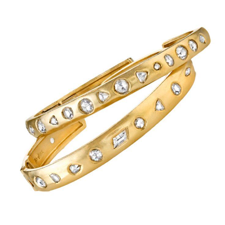 Rose Cut Diamond Gold Bangles