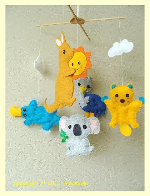 Aussie Animals Nursery Mobile. $75.00, via Etsy.