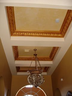 26 best images about faux coffered ceiling on pinterest for Foam coffered ceiling