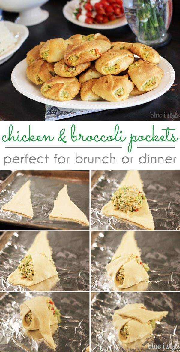 Chicken and broccoli pockets can be enjoyed for brunch or dinner, and these individual servings make them perfect for parties and potlucks. A popular dish for baby showers and wedding showers! Filled with chicken, broccoli, cheese, red peppers, garlic and more! A modified version of a chicken & broccoli bread braid.