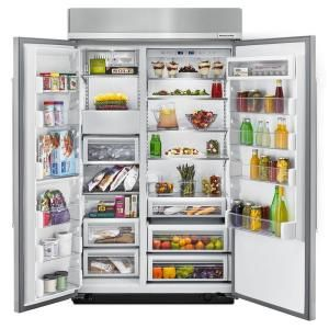 KitchenAid 48 in. W 30 cu. ft. Built-In Side by Side Refrigerator in Panel Ready - KBSN608EPA - The Home Depot