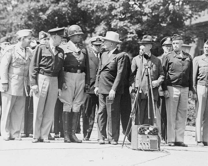 Harry Vaughan Dwight Eisenhower George Patton Harry Truman Henry Stimson Omar Bradley and others Berlin Germany 20 July 1945.