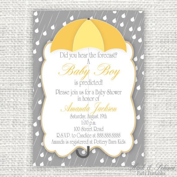 Printable Rain Baby or Bridal Shower Invitation by HankandPetunia, $10.00