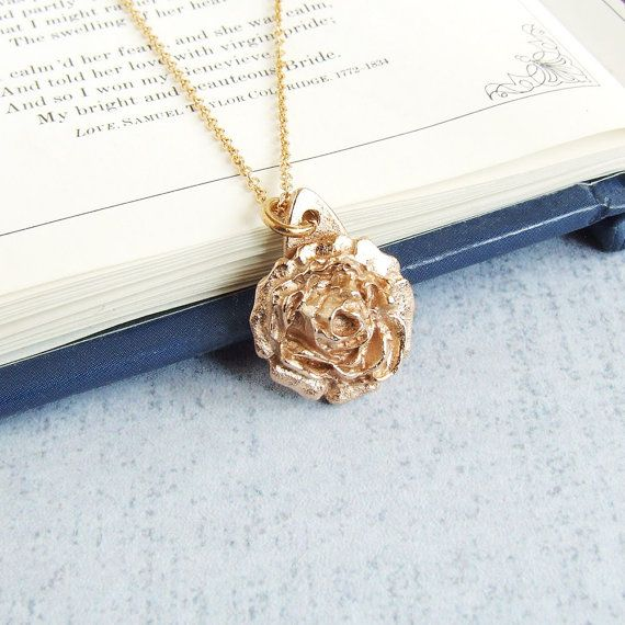 Small romantic bronze rose pendant necklace with a gold filled chain.