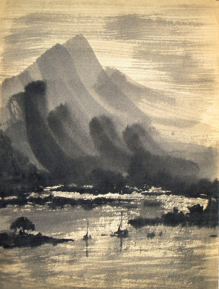 Japanese Painting Key to beauty; zigzags of mangroves(?)  Also like contrast mt to lake but can't fully identify