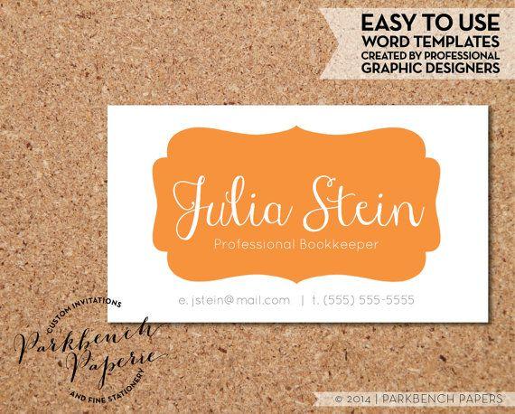 Business Card Template Orange Frame Diy Editable Word