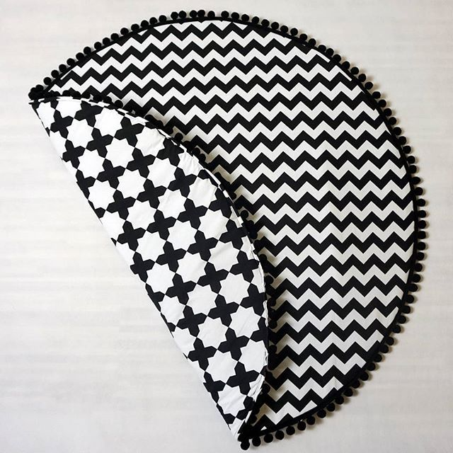 Monochrome baby play mat.  It's soft and cozy, it can be used as a rug in children's room, as a floor in teepee, for a picnic, on a beach or just for exceptional decor for nursery room.