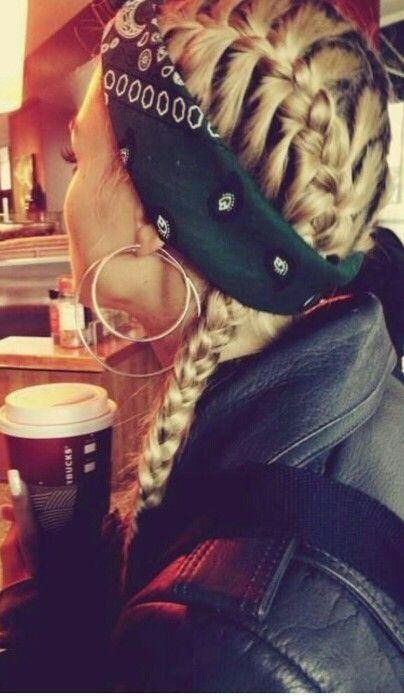French braid with bandana