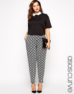 Enlarge ASOS CURVE Exclusive Peg Pant in Mono Tile Print