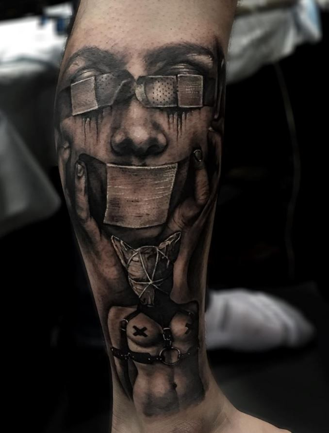 Creepy Black Gray Tattoo Inkstylemag Black And Grey Tattoos Black And Grey Tattoos For Men Dark Tattoos For Men