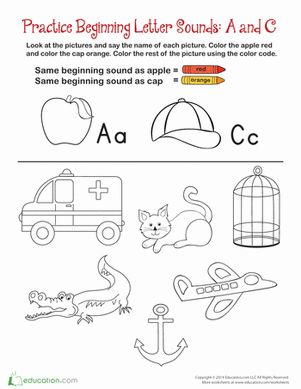 Preschool Phonics The Alphabet Worksheets: Beginning Sounds: A and C