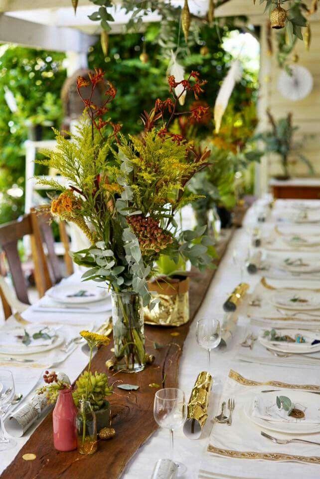 Bush australian christmas table decoration styling