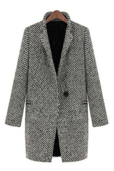 Grey Turn-down Collar Long Sleeves Long Outerwear