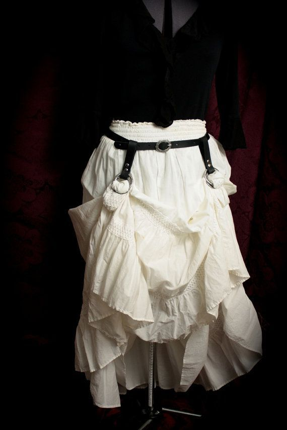 Silver Skirt Hikes /& matching Leather Belt Brown antique brass Black fancy filigree buckle and rings Steampunk