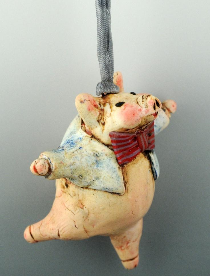 jaunty polymer piggy pendant by Doreen Kassel