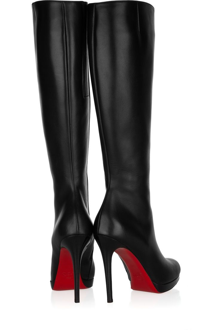 $1226 Christian Louboutin New Simple Botta 120 leather knee boots..because i have this much money laying around - _ -