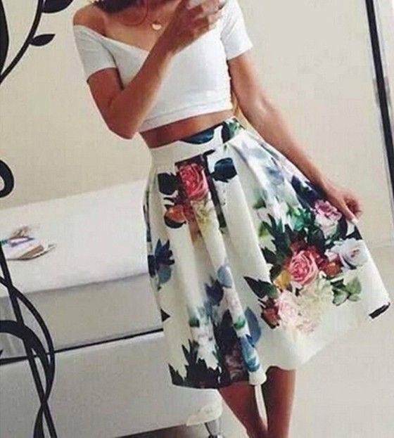 White Floral Print Pleated High Waist Skater Fashion Midi Skirt