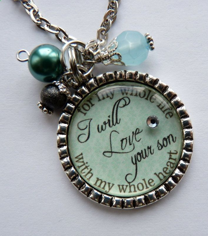 Mother of the Groom Gift, I will love your son with my whole heart for my whole life necklace, wedding gift mother in law beautiful quote. $20.99, via Etsy.