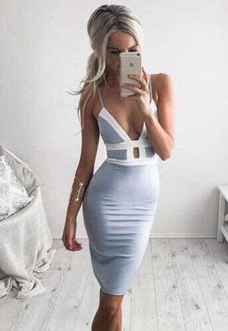 I wish I had boobs for this dresssss bodycon dress light blue tight dresses party dress formal dress tumblr sexy midi dress