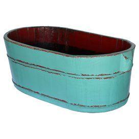 turquoise finish rustic bucket