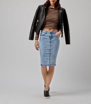 Pale Blue Acid Wash Denim Pencil Skirt