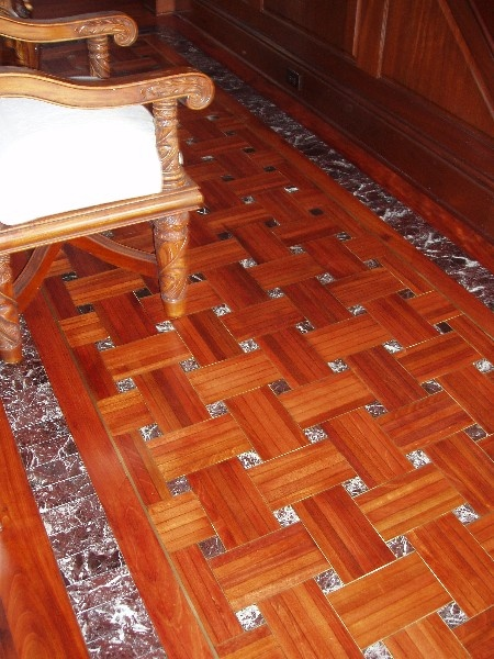 Hardwood Floors With Tile Inlay Santos Mahogany Refinish