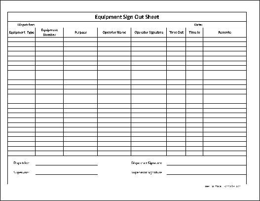 sign out sheet for camera equipment - Google Search photography - sample visitor sign in sheet