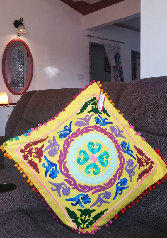These handmade embroidered Suzani cushion covers are the perfect addition to your home.They come in a variety of stunning designs and colors, plus there are various sizes.#CushionCover #Handmade #etsy
