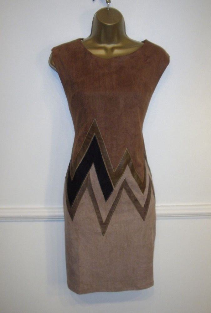New Sweet Miss Brown Zig Zag Pattern Faux Suede 60 S Style Wiggle Dress Uk 14 Fashion Clothing Shoes Accessories Womensclothing Dresses Ebay Link
