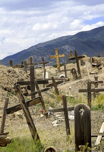 Old cemetery in Taos, New Mexico  I get a sense of peace and sad nostalgia visiting old cemeteries.  http://www.pagosaspringsluxproperties.com